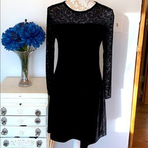 vintage black lace neckline velvet dress